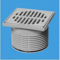 """Гидрозатвор Дн=110мм с металлической (полированная нержавейка) решеткой 115ммх115мм и вставкой тип-""""сухой гидрозатвор"""" (подпружиненная мембрана) для MRFG3 McAlpine"""