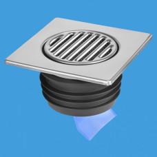 MRFGC3SSV-110 Насадка (150ммх150мм) сливная металлическая (полированная нержавейка) с фильтрующей сеткой