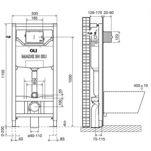 Инсталляция OLI 120 PLUS (0500*1150*0126), Hydroboost для сенсорный панелей
